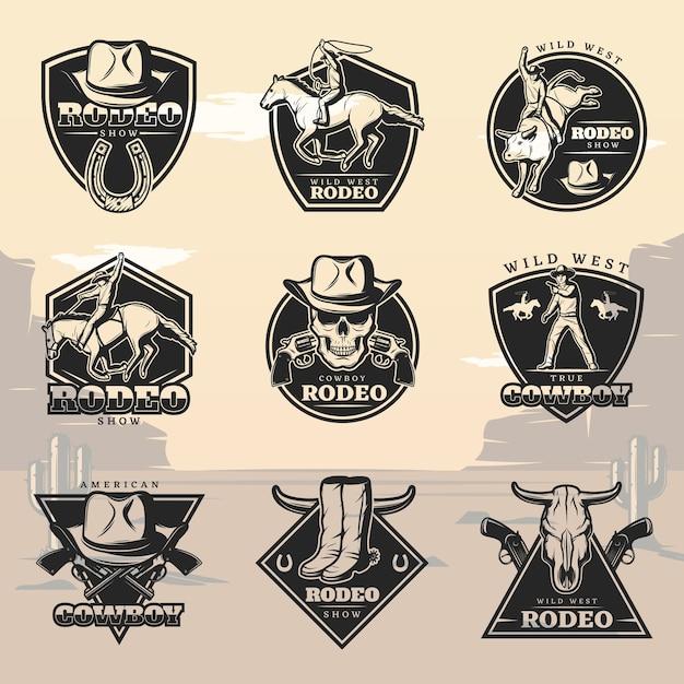 Conjunto de logotipos black vintage rodeo Vetor grátis