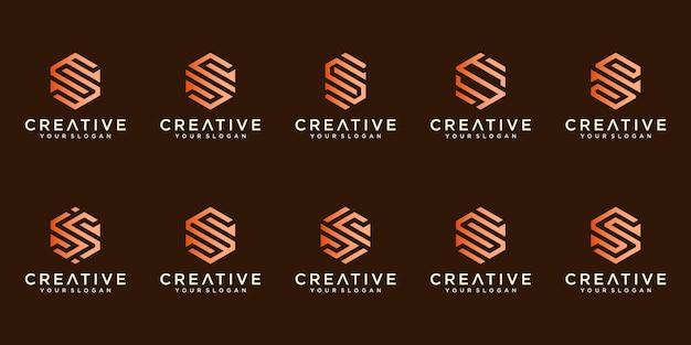 Conjunto de logotipos criativos de luxo Vetor Premium