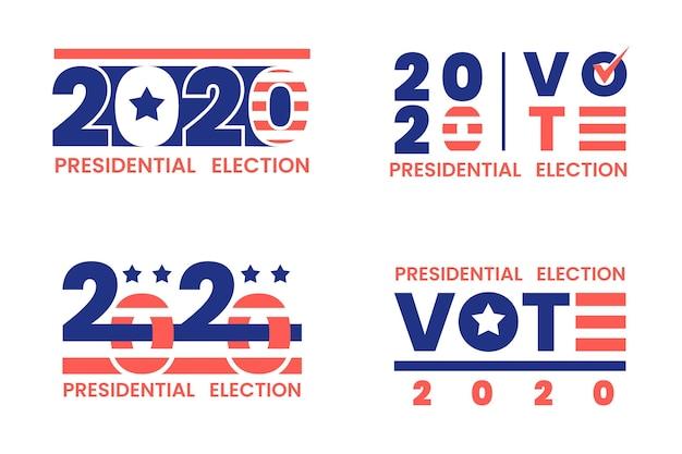 Conjunto de logotipos da eleição presidencial de 2020 nos eua Vetor Premium