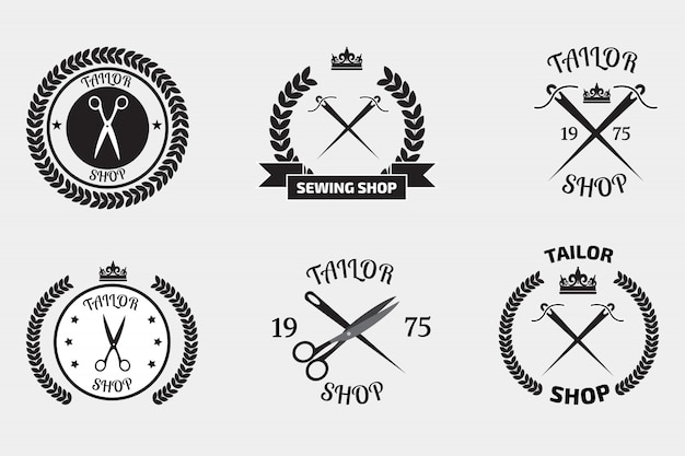 Conjunto de logotipos de alfaiate Vetor Premium