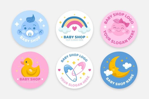 Conjunto de logotipos de bebê fofo Vetor grátis