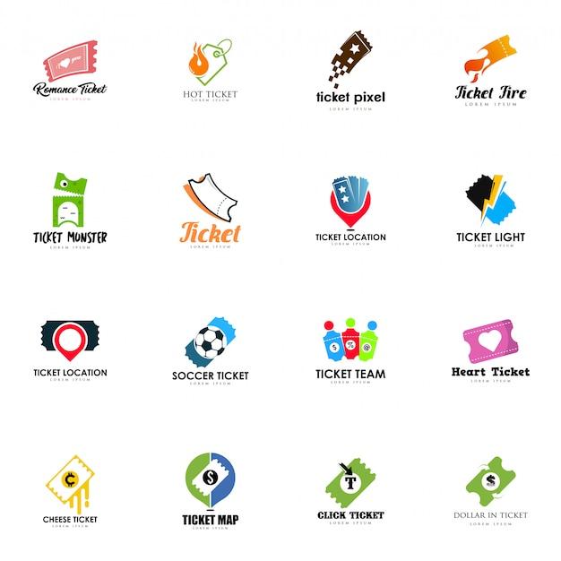 Conjunto de logotipos de bilhetes Vetor Premium