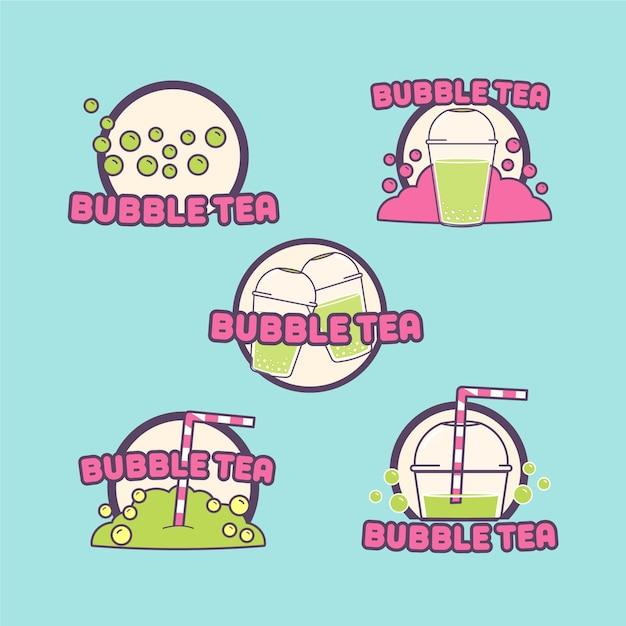 Conjunto de logotipos de chá de bolhas desenhadas à mão Vetor Premium