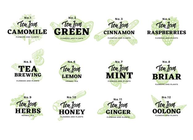 Conjunto de logotipos de chá desenhado à mão Vetor grátis