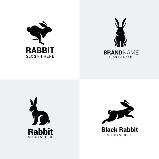 Conjunto de logotipos de coelho Vetor Premium