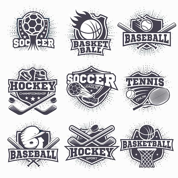 Conjunto de logotipos de esporte Vetor grátis