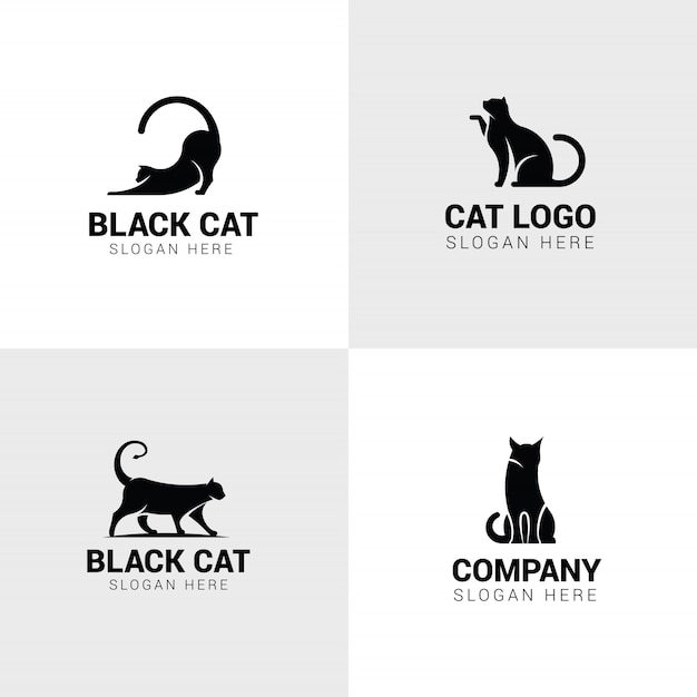 Conjunto de logotipos de gato Vetor Premium