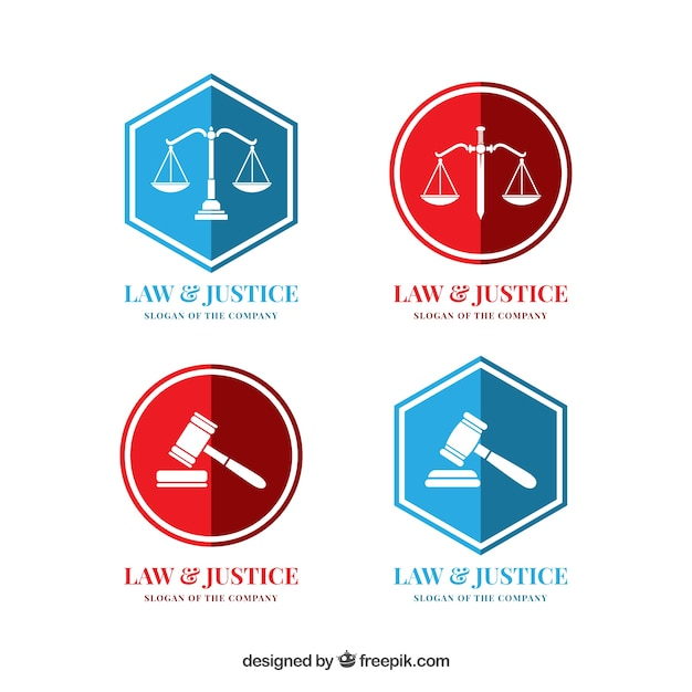 Conjunto de logotipos de lei Vetor Premium