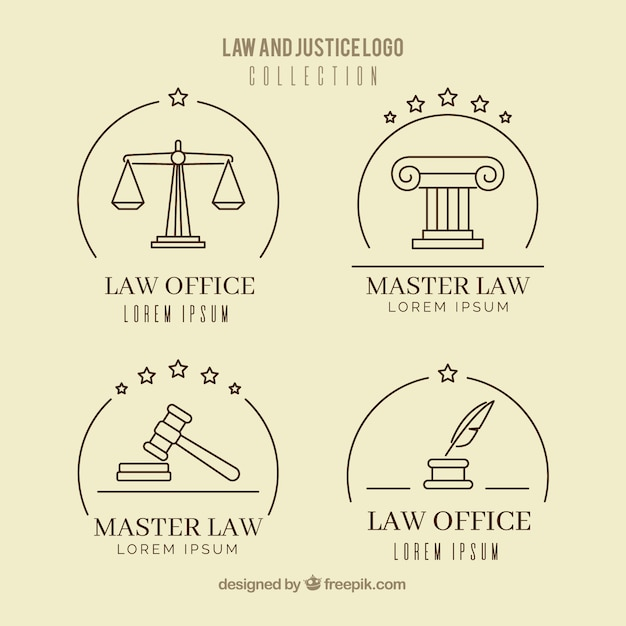 Conjunto de logotipos de lei Vetor grátis