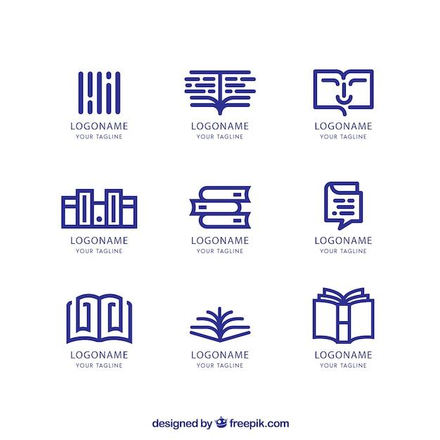 Conjunto de logotipos de livrarias em estilo linear Vetor Premium