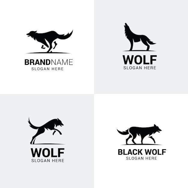Conjunto de logotipos de lobo Vetor Premium