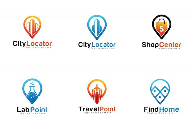 Conjunto de logotipos de localização de pinos Vetor Premium
