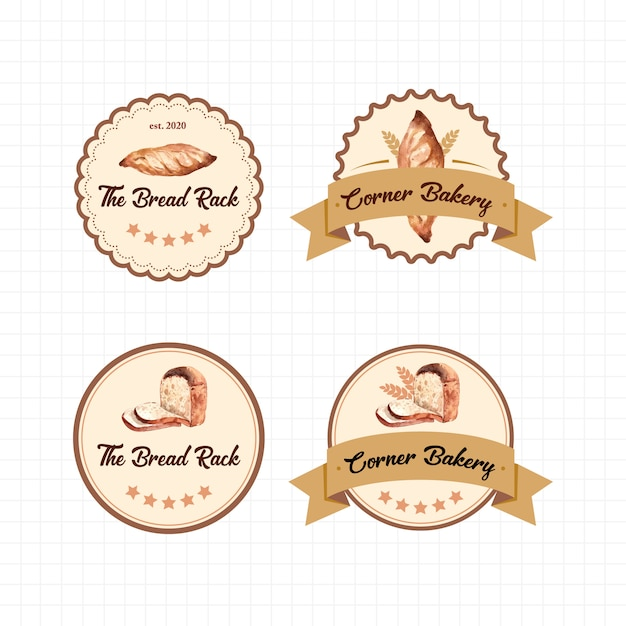 Conjunto de logotipos de lojas de padaria Vetor grátis