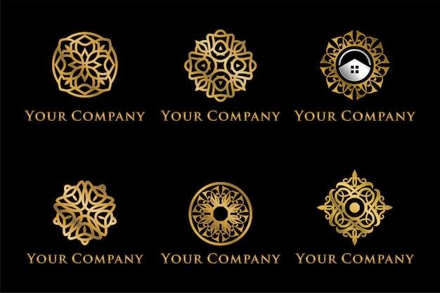 Conjunto de logotipos de mandala de luxo Vetor Premium
