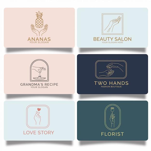 Conjunto de logotipos de mão feminina premium Vetor Premium