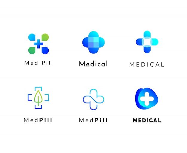 Conjunto de logotipos de médicos e farmácia Vetor Premium