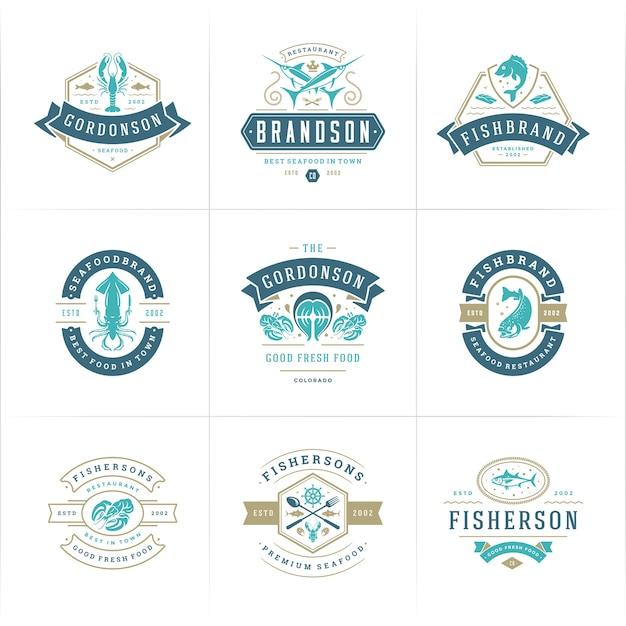 Conjunto de logotipos de mercado de peixes e restaurantes Vetor Premium