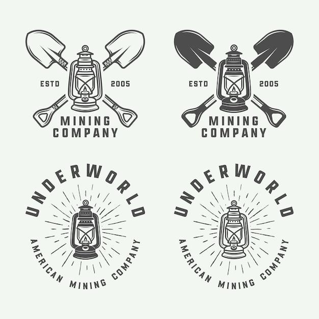 Conjunto de logotipos de mineração ou construção retrô, emblemas, distintivos e rótulos em estilo vintage. arte gráfica monocromática. Vetor Premium