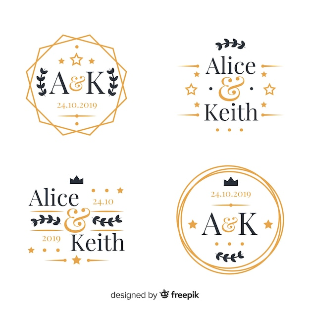 Conjunto de logotipos de monograma de casamento Vetor grátis