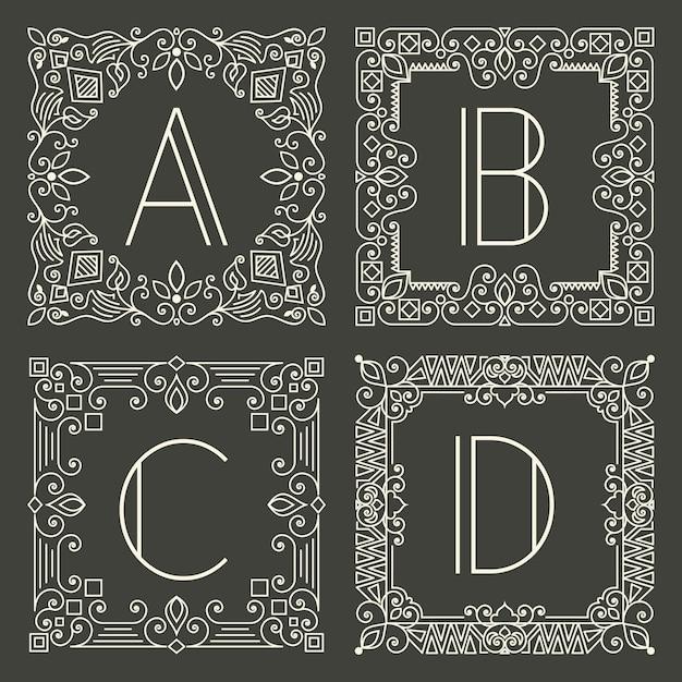 Conjunto de logotipos de monograma floral e geométrico com letra maiúscula no fundo cinzento escuro. Vetor grátis