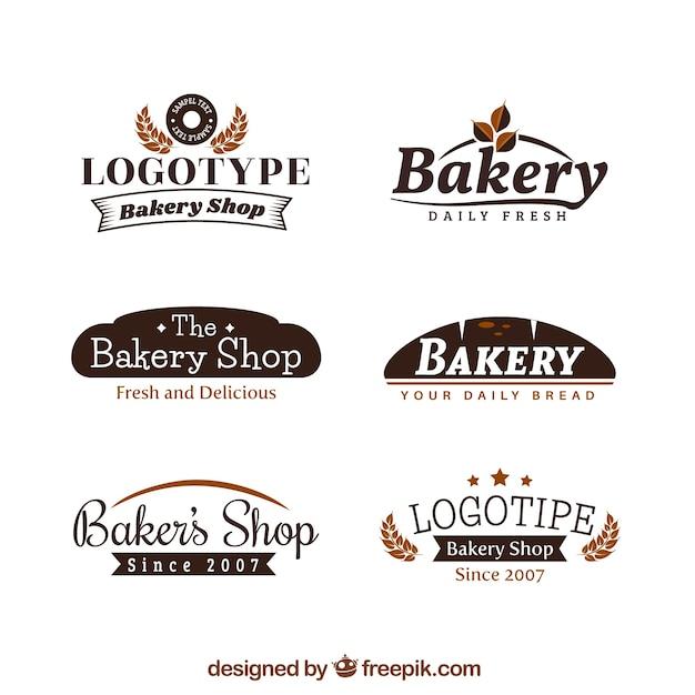 Conjunto de logotipos de padaria Vetor grátis