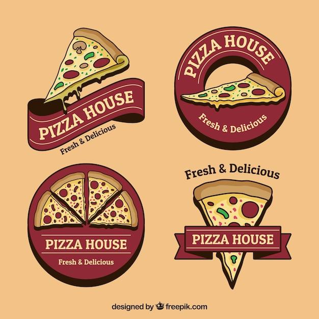 Conjunto de logotipos de pizza desenhados à mão em estilo vintage Vetor grátis