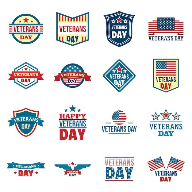 Conjunto de logotipos de veteranos Vetor Premium