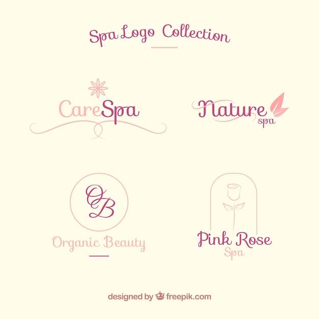 Conjunto de logotipos do centro de spa em estilo simples Vetor grátis