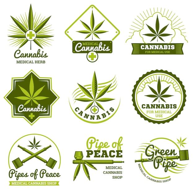 Conjunto de logotipos e rótulos de vetor de cannabis Vetor Premium