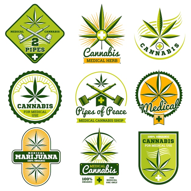 Conjunto de logotipos e rótulos de vetor de medicina de drogas Vetor Premium