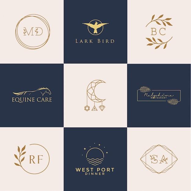 Conjunto de logotipos femininos Vetor Premium