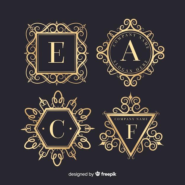 Conjunto de logotipos ornamentais vintage Vetor grátis