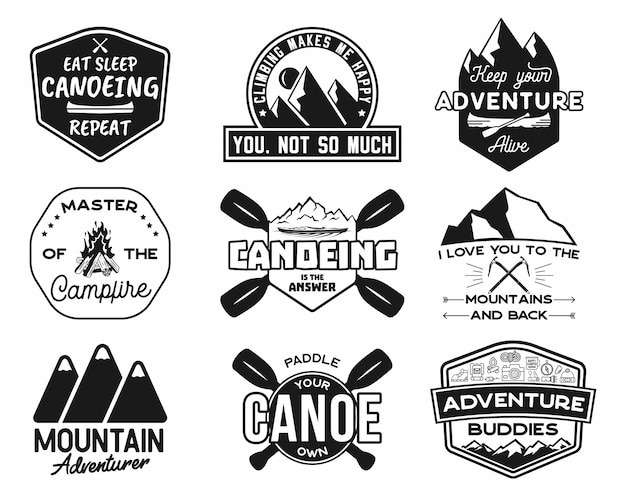 Conjunto de logotipos vintage canoa e caiaque Vetor Premium