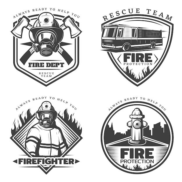 Conjunto de logotipos vintage de combate a incêndios Vetor grátis