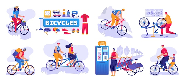 Conjunto de loja de bicicletas de isolado. loja de bicicletas e bicicletas, serviço de oficina Vetor Premium