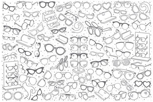 Conjunto de loja de óculos mão desenhada Vetor Premium