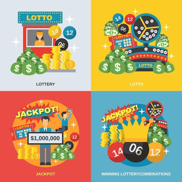 Conjunto de loteria plano Vetor Premium