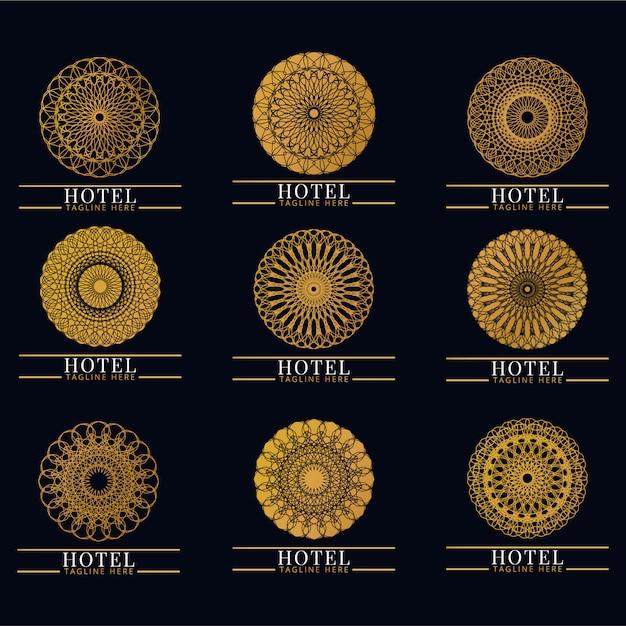 Conjunto de luxo e monograma elegante logotipo. vintage retrô. empresa, marca, identidade visual, corporativo, identidade, logotipo Vetor Premium