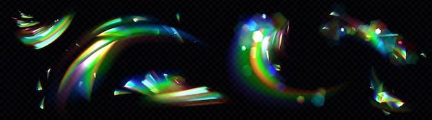 Conjunto de luz de cristal arco-íris Vetor grátis