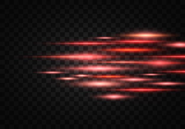 Conjunto de luzes brilhos. pacote de reflexos de lente horizontal. feixes de laser, raios de luz horizontais, linhas. Vetor Premium