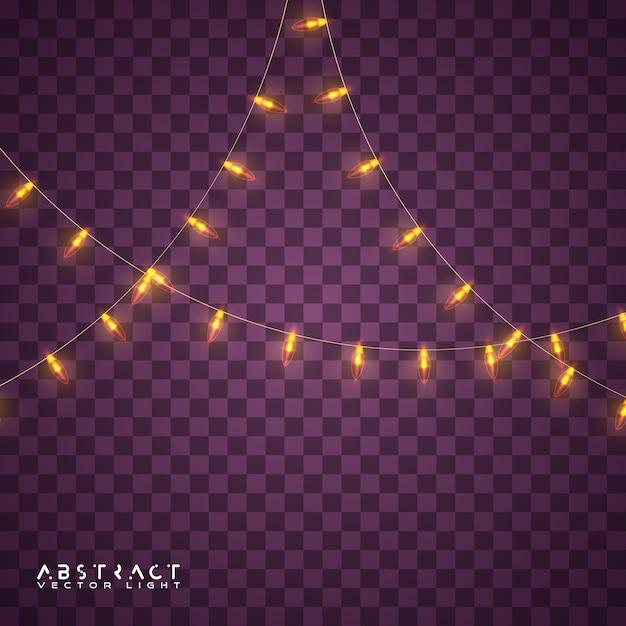 Conjunto de luzes de natal, luzes brilhantes para férias Vetor Premium