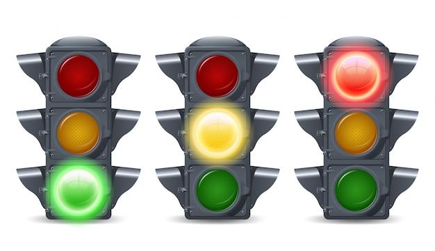 Conjunto de luzes de trânsito Vetor grátis
