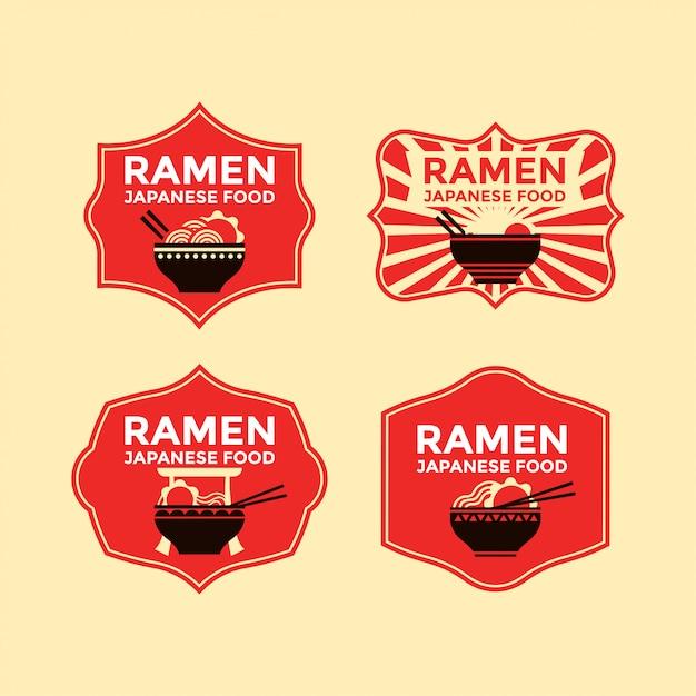 Conjunto de macarrão japonês ou emblemas ramen Vetor Premium