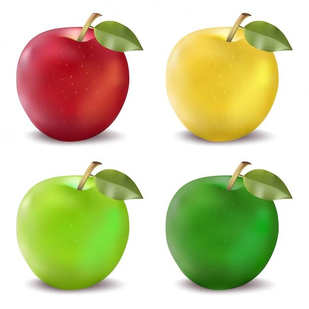 Conjunto de maçãs vermelhas e verdes. ilustração em vetor foto-realistas de uma maçã em quatro esquemas de cores Vetor Premium