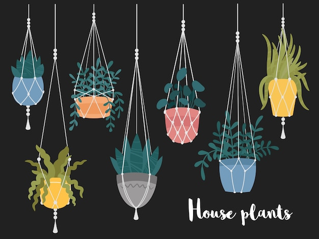 Conjunto de macrame pendurado plantas em vasos. cabides com vasos de flores no jardim interior. decoração de casa artesanal. desenho de mão desenhada Vetor Premium