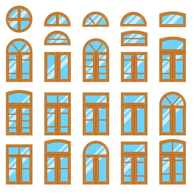 Conjunto de madeira vintage ou vista de frames de janela de madeira Vetor Premium