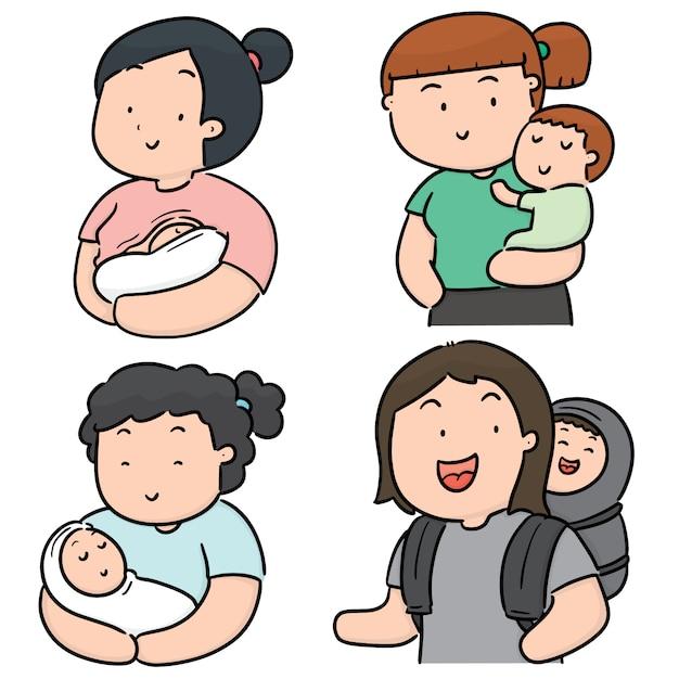Conjunto de mãe e filhos Vetor Premium