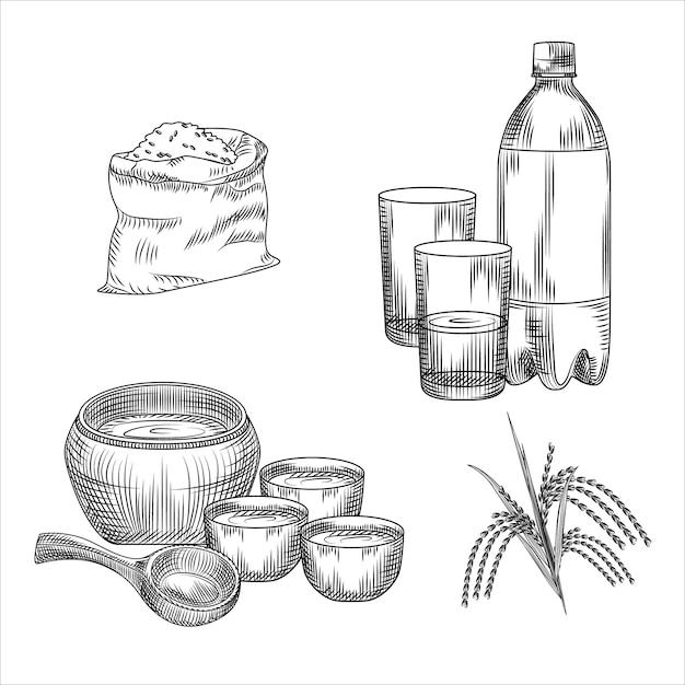 Conjunto de makgeolli. álcool tradicional coreano bebe vinho de arroz. saco de arroz, garrafa de plástico, copo, mercadoria cerâmica, filial de arroz Vetor Premium
