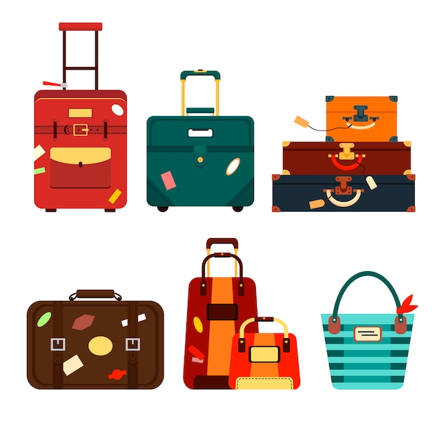 Conjunto de malas de viagem na ilustração de fundo transparente. coleção de viagem de negócios embalagem, lidar com bagagem de viagem. horário de verão. bolsa e bagagem para aventura Vetor Premium
