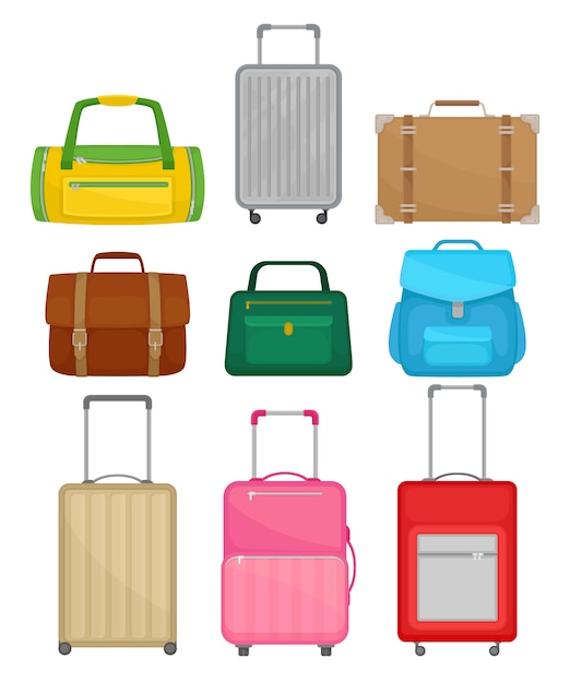 Conjunto de malas diferentes. bolsa feminina, pasta de couro, mochila, malas de viagem com rodas, mochila Vetor Premium